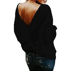 ELFIN® Damen Sexy V-Ausschnitt Pullover Tief Kreuz V Rückenfrei Stricken Pullover Pullis Oversized Lange Ärmel Sweater Jumper Casual Lose Herbst Frühling Strickpullover
