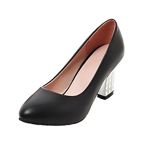 VogueZone009 Femme Pu Cuir Houppe Tire Pointu à Talon Haut Chaussures Légeres Noir
