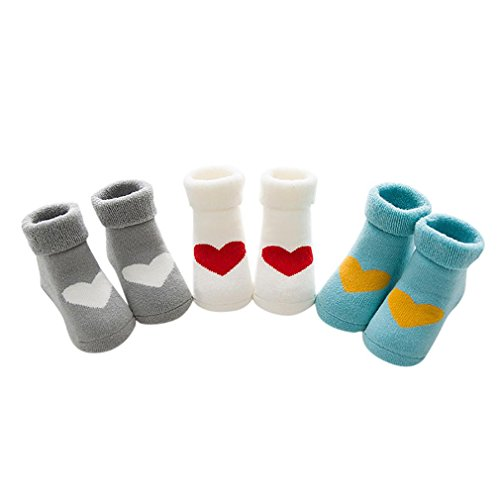 KanLin 3 Pairs Baby Boys Girls Knitting Cotton Warm Infant Children Kids Socks (Multicolor (Vitamin C Kostüm)