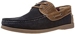 United Colors of Benetton Mens Tan and Navy Blue Leather Boat Shoes - 7 UK