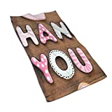 HPHPLSZ Kitchen Dish Towels Wash Cloth Car Household Pet Bath Towel,Romantic Sweet Cookie Letters Sugar Candy On A Rustic Wood Table Image,27.5 inch X15.7Inch