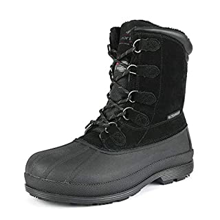 NORTIV 8 Men's 170390 Black Insulated Waterproof Construction Hiking Winter Snow Boots Size 8.5 UK