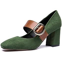 Frühling und Sommer Retro 1 Wort Wölbung High Heels Mary Jane Schuhe Damen Schuhe ( Farbe : Grün , größe : 37 )