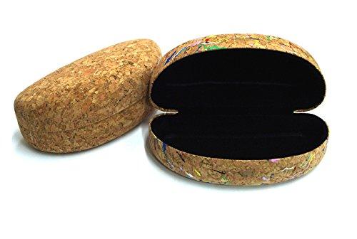 takestop Brillenetui Brille Harte Kork Holz Wood Handy Brille breit Brillenetui Schnappverschluss