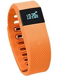 Brazalete deportivo Bonss TW64S, reloj inteligente con monitor de actividad física y frecuencia cardíaca, podómetro, recordatorio de llamadas. monitor de sueño y Bluetooth 4.0, naranja