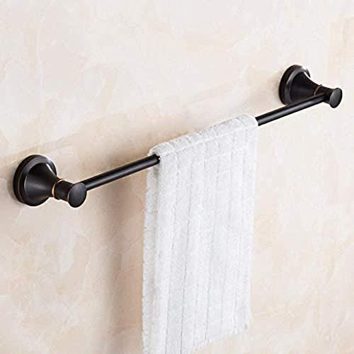 Wand Regal Metall Rod (WEIUTY Handtuchhalter Regal Metall für Rahmen Home Fashion einfache Handtuchhalter Bad schwarz Kupfer Wand Single Rod Handtuchhalter Beschichtung gebürstet Bad-Accessoires)