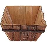 Non-brand Wooden Flower Pot Handmade Square Plants Flowerpot Desktop Storage Box Home Decoration