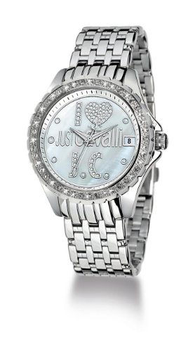 Just Cavalli Ladies Watch R7253167545 In Collection Easy Heart with 3 H and S, 41mm, White Mop Dial and Stainless Steel Bracelet