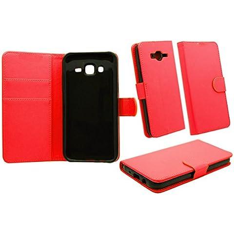 NWNK13® Samsung Galaxy J3Cartera/ranuras para tarjeta, dinero Soporte, construido en soporte lateral abierto Book Case Cover Plus Protector de pantalla y lápiz táctil rojo rosso Samsung Galaxy J3