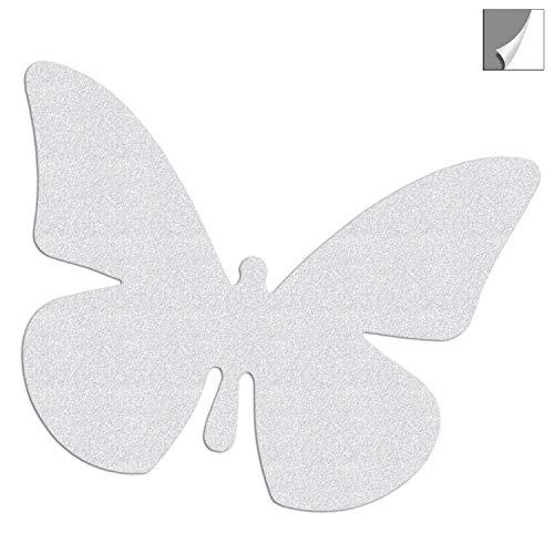 Reflektor Aufkleber, Sticker Schmetterling aus reflektierender Folie in silberweiß für zbsp. Schulranzen