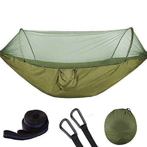 Zerodis - Hamaca de camping con mosquitera y tienda de campaña, 250 x 120 cm, portátil, ligera, de nailon de paracaídas, hamaca con correas de árbol para acampada Army Green