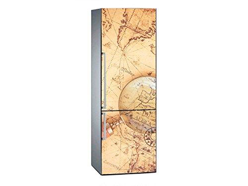 Vinilo Frigorífico Mapamundi Antiguo 200x70cm | Varias