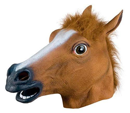 (QETU Halloween Tiermaske, Neuheit Kostümparty Latex Maske (Pferdekopf),Brown)