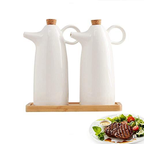 Mai&bao ceramica dispensatore olio e aceto ampolla cucina salsa liquido condimento bottiglia distributore prova della polvere ea prova di perdite con beccuccio oliera bottiglia 300ml bianco 2 pezzi