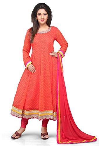 Utsav Fashion Anarkali Georgette Anarkali Suit In Orange Colour