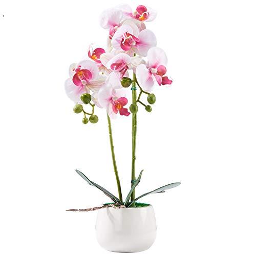 Encoft fiori artificiali in seta con vaso (rosa chiaro)