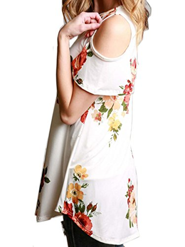 ECOWISH Damen Blumen Sommer Kurzarm V-Ausschnitt Oberteil Tops Bluse Shirt Weiß