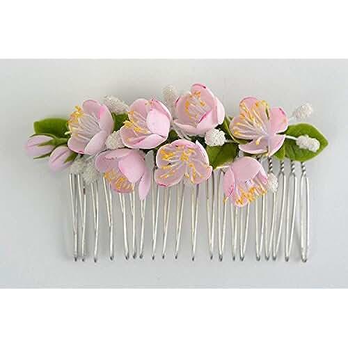 figuras kawaii porcelana fria Peineta para el pelo de porcelana fria artesanal con flores de manzano