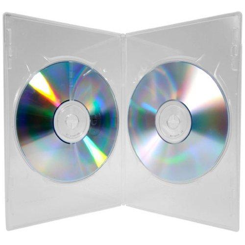 Four Square Media-Custodia DVD Slim Doppia con base trasparente, 7mm, confezione da 1