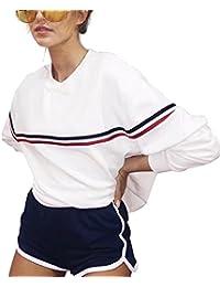 Weiß Rosa Sweatshirt Damen Tumblr Sweatjacke Pullover Langarmshirts Frauen Oversize