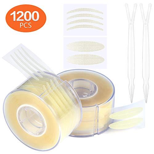 Winload 1200 Pezzi Nastro Palpebra Invisibile Nastro Adesivo per Palpebre Invisibili Nastro a Doppia Palpebra con 2 Pezzi Forcelle Effetto Lifting Istantaneo Colore della Pelle