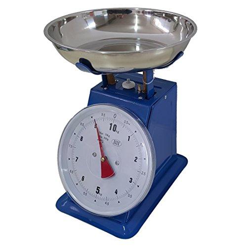 Bilancia BLU da cucina 20 KG meccanica analogica con stile retro' in metallo con piatto in acciaio, EURONOVITA'