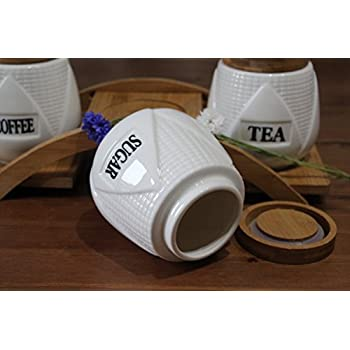 Set of 3 kitchen teacoffee and sugar ceramic storage jars with bamboo tray with
