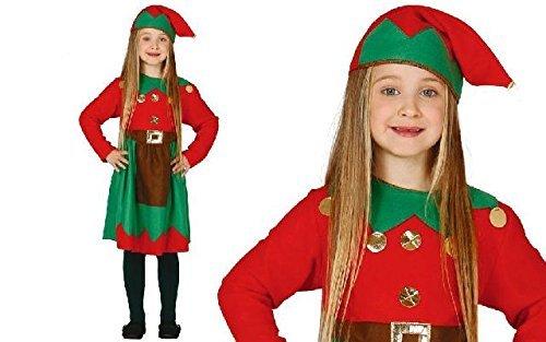 Weihnachtself Kostüm Kinder Mädchen mit Mütze - Elfen Kostüm für Kinder von Größe 92 bis 146 - komplettes Elf Kostüm Kinder Mädchen - Elfenkostüm Kinder - Weihnachtskostüm Kinder (Elf Kostüme Kinder)