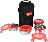 Amazon Brand - Solimo Stainless Steel Lunch Box Set with Bag, 300ml, 11cm Diameter, 4-Pieces, Red Lid