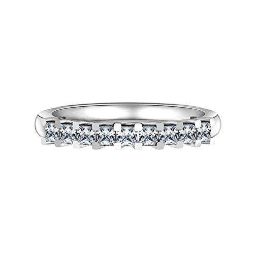 Daesar Silberring Damen Ring Silber Ehering für Damen Verlobungsring Benutzerdefinierte Ring Runde Zikonia Ring Größe:58 (Paar Kostüm Kaugummiautomaten)