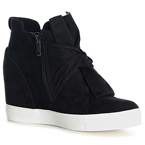 topschuhe24 1059 Damen Sneaker Keilabsatz Stiefeletten Black