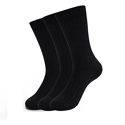 Iado calze uomo calzini traspiranti termici calzini altezza polpaccio invernali morbidi termici calzini per lavoro e tempo libero 3 paia (black)