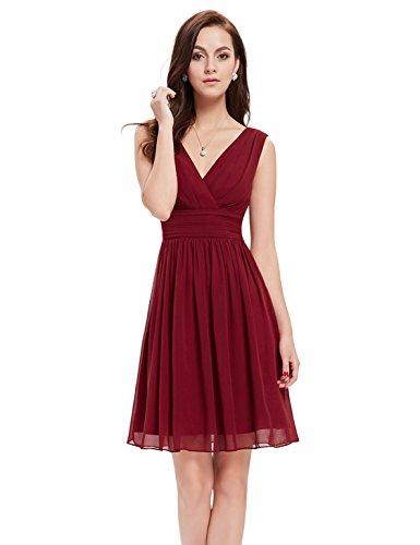 Ever-Pretty Doppelt V-Ausschnitt Rueschen an Taille Kurz Damen Party Kleider Größe 36 Burgundy