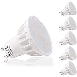 LOHAS 5 x 6W GU10 Bombilla LED, Lámparas Halógenas Equivalentes a 50W, Blanco Calído, 3000K, 500lm, Angulo de haz de 120°, 110-240V, No regulable