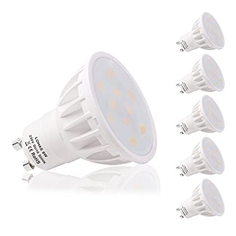 LOHAS 6W GU10 Lot de 5 Ampoule LED, Blanc Chaud, 3000K, 50W Ampoule Halogène Équivalent, 500lm, 120° Larges Faisceaux, Ampoule LED GU10, Culot GU10