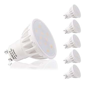 LOHAS Confezione da 5 Lampadine LED GU10 6Watt, Equivalenti a Lampadine Alogene da 50Watt, 500lm, Luce Bianca Calda, 3000K, Angolo del Fascio di 120 Gradi, Lampadine LED Non Dimmerabili