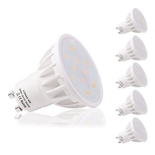 LOHAS 5 x 6W GU10 Bombilla LED, Lámparas Halógenas Equivalentes a 50W,...