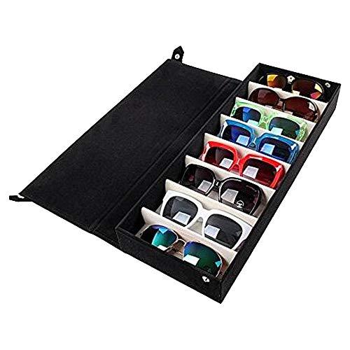 Sonnenbrille Boxen 8 Raster Sonnenbrille Aufbewahrungsbox Sonnenbrille Brille Aufbewahrung Raster Anzeigen Ständer Fall Box Halter Lagerung Organizer Collector 8 Slot, schwarz, 48.5*18*6 cm