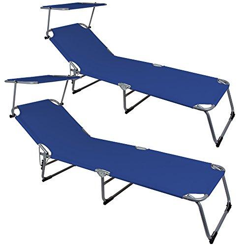 Deuba 2X Klappliege Hawaii blau - Sonnenliege Relaxliege Strandliege Gartenliege