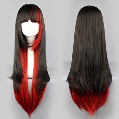 ges Haar Perücke Schwarz Und Rote Perücken Lange Colormix Perücke Cosplay Perücke Karneval Grinsekatze Perücke ()