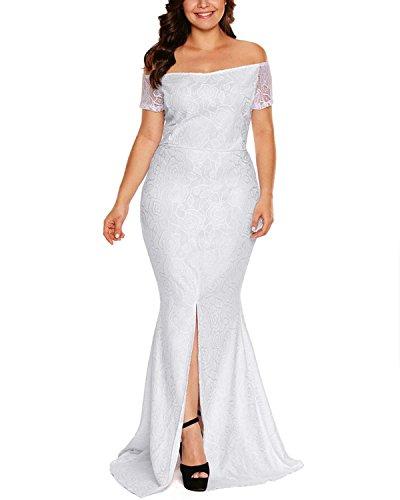 ABYOXI Damen Lange Meerjungfrau Schulterfrei Spitzenkleid/ Einfach Festlich Cocktailkleid Abendkleid Weiß