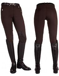 HKM pantalones de equitación - Peach - con silicona en la palma de la mano, 2013/2014, color Marrón - marrón, tamaño Kindergrösse 128