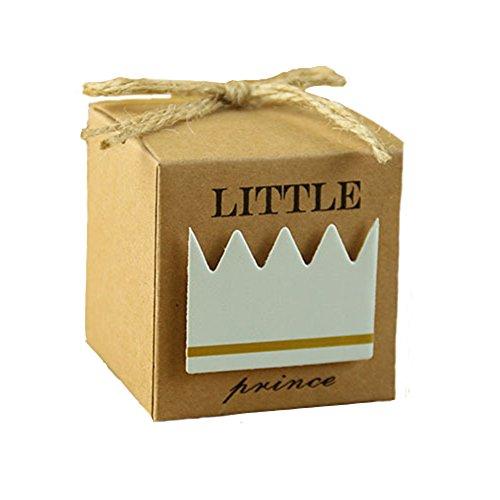 Kingsley 50pz Principe Bomboniere Vintage carta kraft Candy scatole regalo, Scatole Cubo Portaconfetti Segnaposto Corda di Canapa Accessori Vintage Compresi