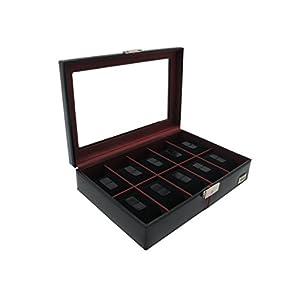Cordays 'Hülle Uhrmacher Deluxe in Leder für 10Uhren. Handgefertigt mit Vitrine Glas-Box Sammler Premium Qualität cdm-00003p