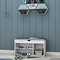 LEPAK Shoe Storage Benches with 2 Tier 1 Cabinet,White Shoe Rack Cabinet with Detachable Grey Seat Cushion Hallway Bedroom Living Room Furniture,Shoe Bench with Lift Up,45 X 30 X 80 cm