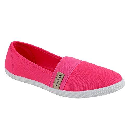Bequeme Damen Slipper | Slip-ons Sportliche Schuhe | Flats Stoffschuhe | Prints Glitzer | Freizeitschuhe Pink Beige