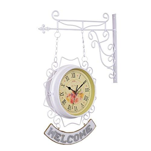 NYDZ Doppelseitige Wanduhren Antike Europäische Bahnhofsuhr im Vintage-Stil, Vintage Garden Outdoor Bracket-Uhr