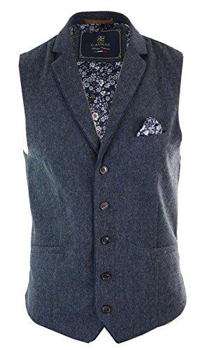 Olive Vintage Blazer (Herrenweste Blau Braun Olive Vintage Tweed Design Eng Tailliert Fischgräte Design)