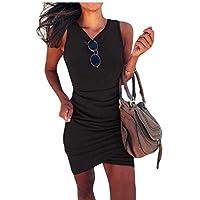 فستان GAGA نسائي ضيق غير منتظم متقاطع بدون أكمام للنادي Mini Dres اسود X-Large