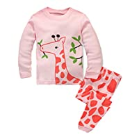 BABSUE Little Girls Pajamas Giraffe Long Sleeve PJS Toddler 100% Cotton Kids Sleepwears Size 7 Pink